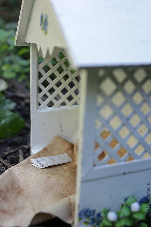 """Кукольный дом ручной работы. Ярмарка Мастеров - ручная работа. Купить Миниатюра """"Беседка для мишки"""". Handmade. Белый, кукольная миниатюра"""