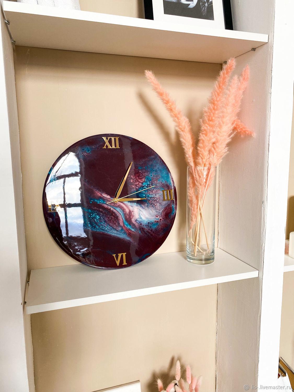 Настенные круглые часы из эпоксидной смолы, Элементы интерьера, Дзержинск,  Фото №1