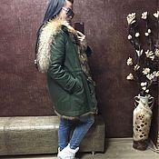 Одежда ручной работы. Ярмарка Мастеров - ручная работа Парка зимняя с енотом из плащевки. Handmade.