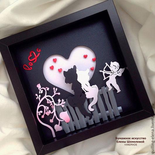"""Подарки для влюбленных ручной работы. Ярмарка Мастеров - ручная работа. Купить Картина - панно """"Влюбленная парочка"""". Handmade. Черный"""
