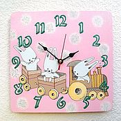 Для дома и интерьера handmade. Livemaster - original item Pink children`s clock Bunnies in the tram. Handmade.