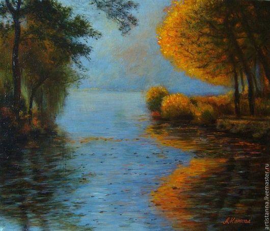 """Пейзаж ручной работы. Ярмарка Мастеров - ручная работа. Купить """"Живая осень"""". Handmade. Оранжевый, осень, пейзаж, картина, холст"""