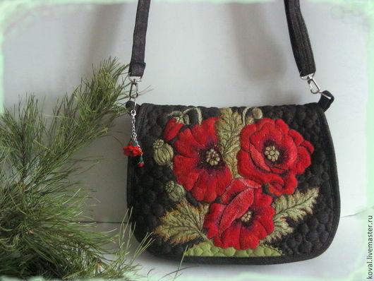 Женские сумки ручной работы. Ярмарка Мастеров - ручная работа. Купить Маки  алые  Вышитая  сумка. Handmade. Цветочный