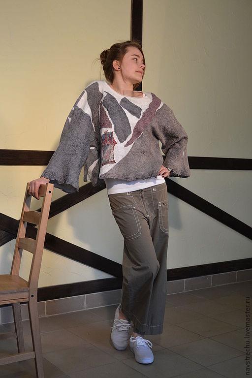 """Кофты и свитера ручной работы. Ярмарка Мастеров - ручная работа. Купить Джемпер кимоно """"Релакс"""" меринос, шелк, батик. Handmade."""