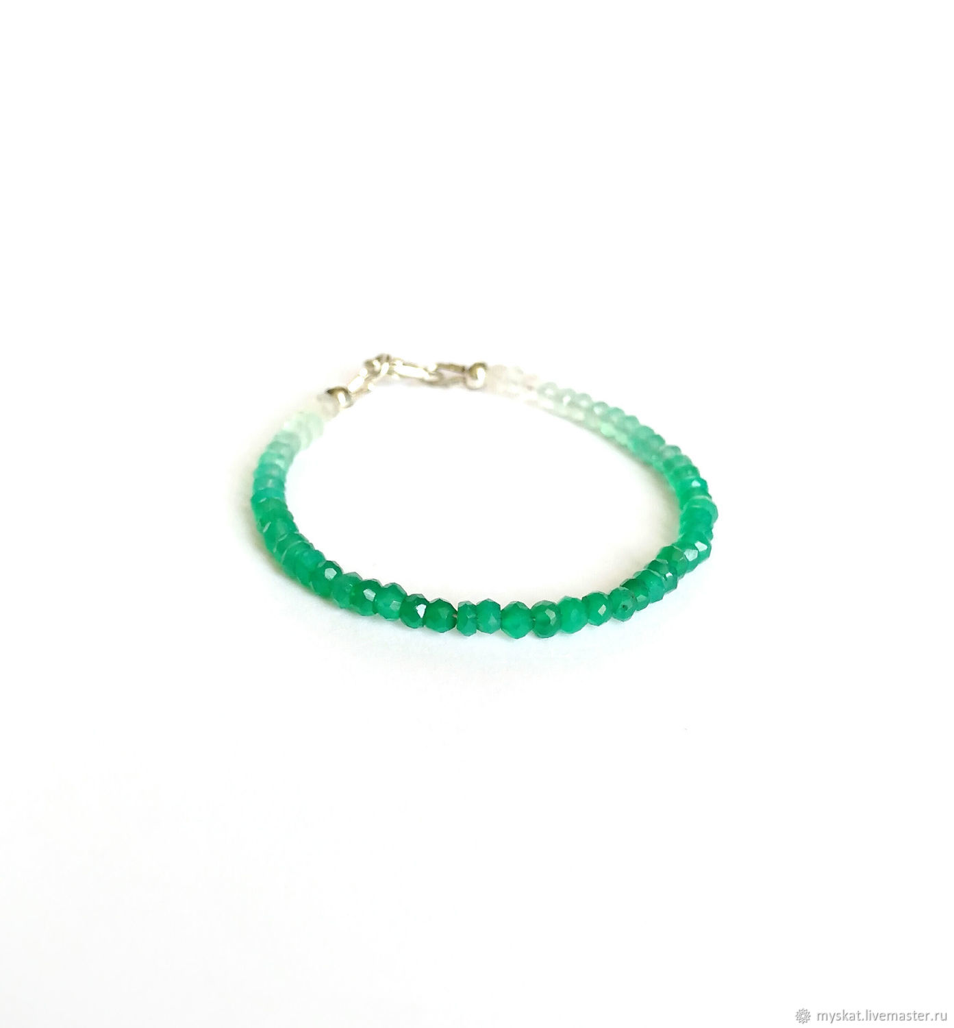 Bracelet made of chrysoprase and silver, Bead bracelet, Moscow,  Фото №1