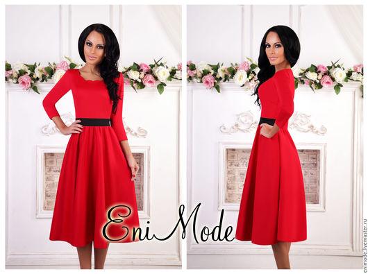 Платья ручной работы. Ярмарка Мастеров - ручная работа. Купить Красное-чёрное платье длины миди с эффектным вырезом и рукавом 3/4. Handmade.