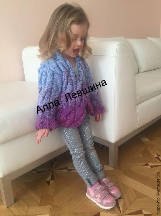 Одежда для девочек, ручной работы. Ярмарка Мастеров - ручная работа. Купить Кардиган детский с градиентом. Handmade. Разноцветный, кофта спицами