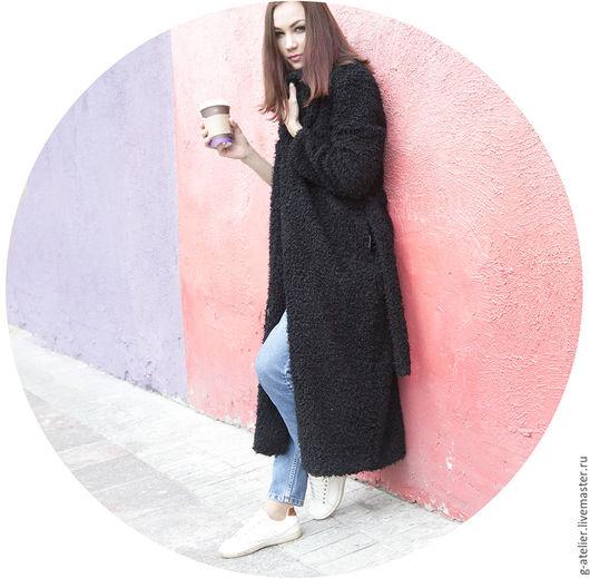 Верхняя одежда ручной работы. Ярмарка Мастеров - ручная работа. Купить Пальто-халат из смесовой ткани. Handmade. Черный