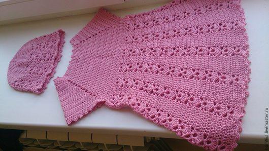 Одежда для девочек, ручной работы. Ярмарка Мастеров - ручная работа. Купить Платье  для девочки. Handmade. Розовый, платье и шапочка крючком