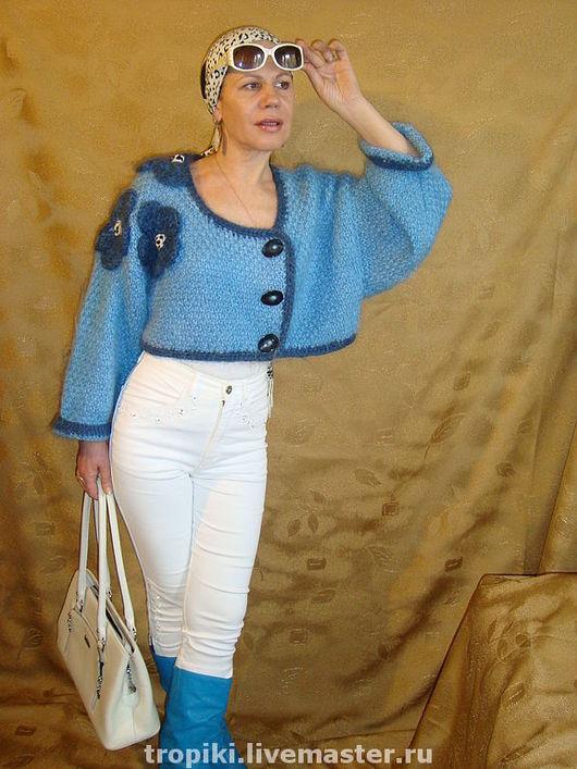 Кофты и свитера ручной работы. Заказать Жакет вязаный укороченный мохеровый с цветами. Светлана Волкодав SV (tropiki). Ярмарка Мастеров.