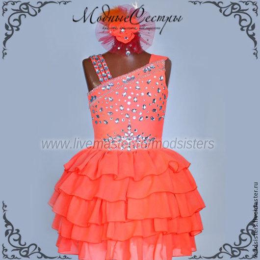 """Одежда для девочек, ручной работы. Ярмарка Мастеров - ручная работа. Купить Платье """"Яркий коралл"""" со стразами Арт.124. Handmade."""