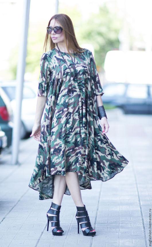 Камуфляжное платье. Платье. Длинное платье. Платье  ручной работы. Ярмарка Мастеров.