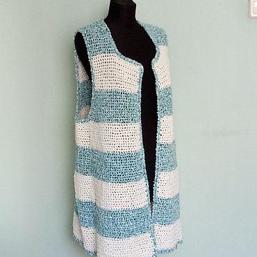 """Clothing handmade. Livemaster - original item Жилет бело-бирюзовый """" Морячка"""". Handmade."""