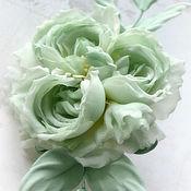 Украшения handmade. Livemaster - original item Silk flowers Brooch silk rose Bliss. Handmade.