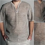 Мужская одежда handmade. Livemaster - original item 100% linen.Shirt .Open track.Long sleeve 500 RUB. Handmade.
