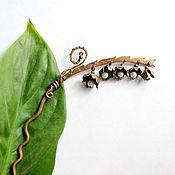 Украшения ручной работы. Ярмарка Мастеров - ручная работа шпилька для волос Ландыш медная с натуральным жемчугом (заколка медь). Handmade.