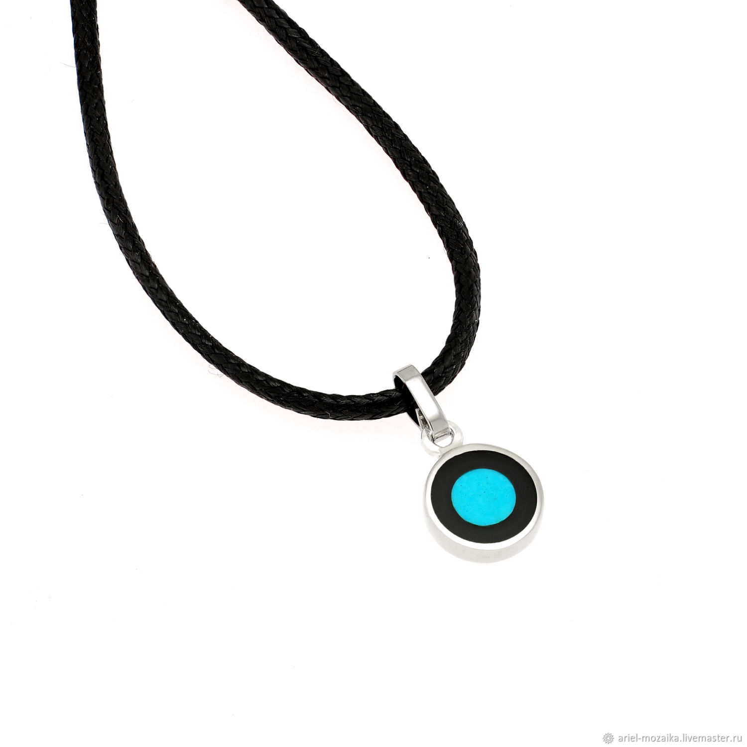 PENDANT with turquoise and black enamel. Small handmade pendant, Pendant, Moscow,  Фото №1