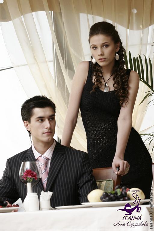 """Платья ручной работы. Ярмарка Мастеров - ручная работа. Купить Платье вязаное крючком """"Черный шелк"""", в более чем 50 цветах. Handmade."""