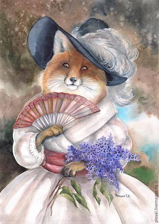 Картина акварель с лисой Лисица-краса с сиренью, Картины, Подольск, Фото №1