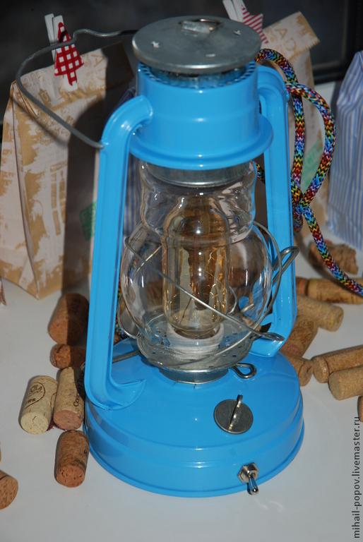 Освещение ручной работы. Ярмарка Мастеров - ручная работа. Купить Керосиновая лампа переделанная в электрическую. Handmade. Светильник, лампа, винтаж