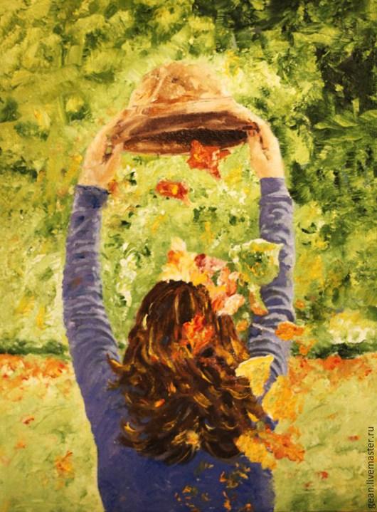 """Люди, ручной работы. Ярмарка Мастеров - ручная работа. Купить Картина маслом """"Солнечная осень"""". Handmade. Разноцветный, зеленый цвет"""