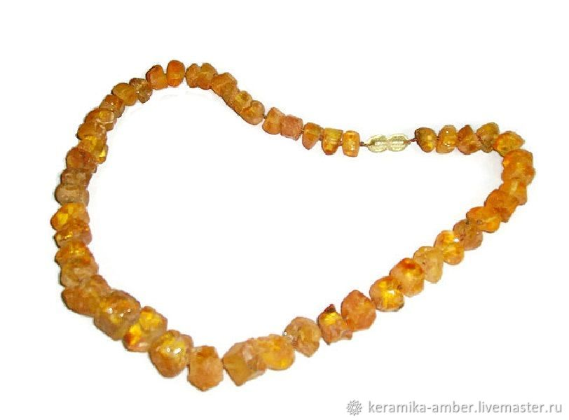 Amber beads natural rough stone healing amber yellow, Necklace, Kaliningrad,  Фото №1