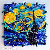 Для дома и интерьера ручной работы. Ярмарка Мастеров - ручная работа часы из стекла, фьюзинг  Почти Звёздная ночь....Ван  Гог. Handmade.