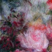 Картины и панно ручной работы. Ярмарка Мастеров - ручная работа Розовый сад, картина шерстью. Handmade.