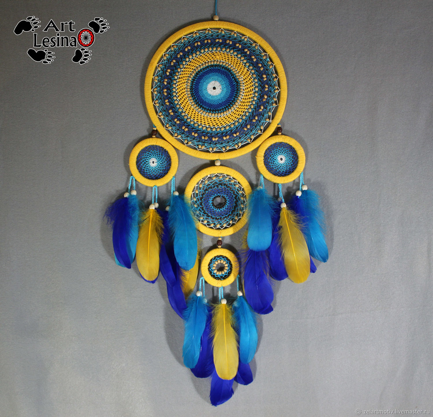 Dreamcatcher 'Sunny' with fine weave, 70 cm, Dream catchers, Moscow,  Фото №1