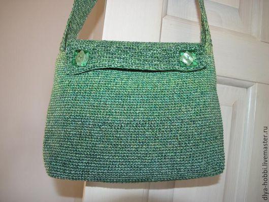 Женские сумки ручной работы. Ярмарка Мастеров - ручная работа. Купить сумка вязаная зеленая Изумруд. Handmade. Зеленый