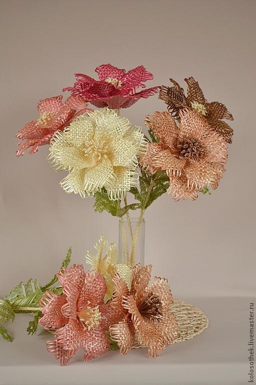 Цветы ручной работы. Ярмарка Мастеров - ручная работа. Купить Цветок из соломки.. Handmade. Плетение из соломки, букет цветов