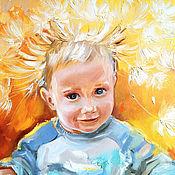 Картины и панно handmade. Livemaster - original item Sunny child, oil portrait on canvas. Handmade.