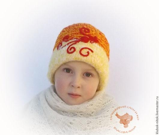 Вязаная шапка для девочки, детская  теплая вязаная шапка, узорная шапка, шапка для девочки,  русский стиль, красивая вязаная шапка, детская шерстяная вязаная шапка, детская вязаная теплая шапка