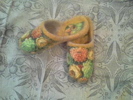 """Обувь ручной работы. Ярмарка Мастеров - ручная работа. Купить """"Осенний романс""""Валяные шлепки. Handmade. Шерсть, павловопосадский"""