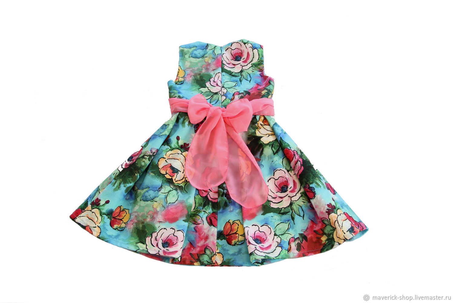Elegant dress for girls made of cotton with roses, size 122, Childrens Dress, Moscow,  Фото №1