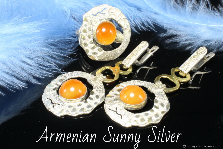Alpinia jewelry set with carnelian in 925 silver (VIDEO), Jewelry Sets, Yerevan,  Фото №1