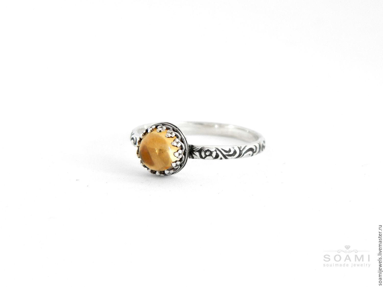 Кольцо с цитрином Little Sun, серебро 925 пробы, Кольца, Прага,  Фото №1