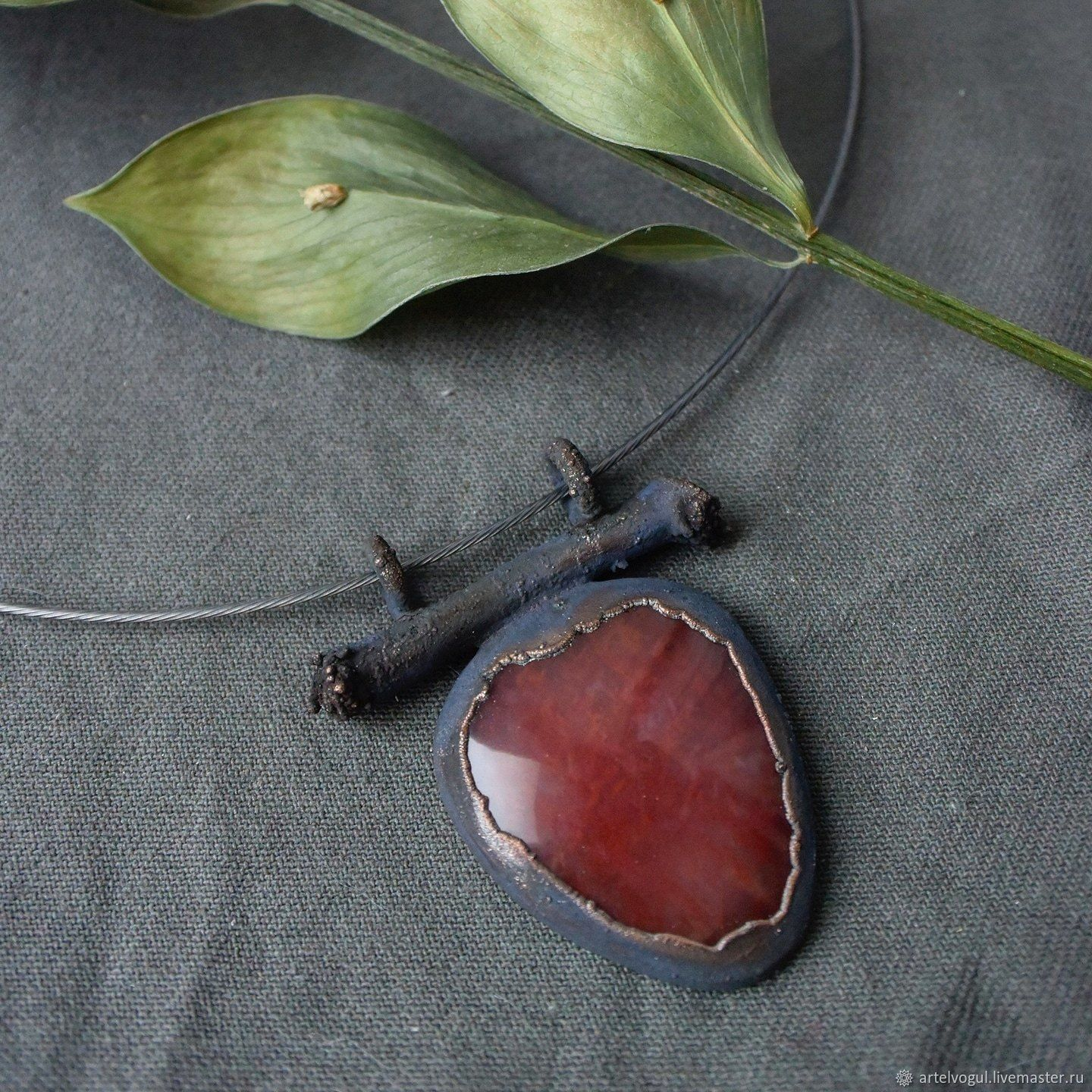 Copper pendant with birch branch and red chalcedony, Pendants, Nizhnij Tagil,  Фото №1