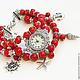 """Часы ручной работы. Ярмарка Мастеров - ручная работа. Купить """"Красное море"""" - часы-браслет. Handmade. Ярко-красный"""