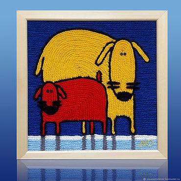 Картины и панно ручной работы. Ярмарка Мастеров - ручная работа Картина вязанная из пряжи Собаки размер 30 х 30 см.. Handmade.