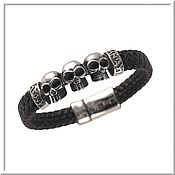 Украшения handmade. Livemaster - original item Men`s leather bracelet No. 15 accessories steel 316L. Handmade.