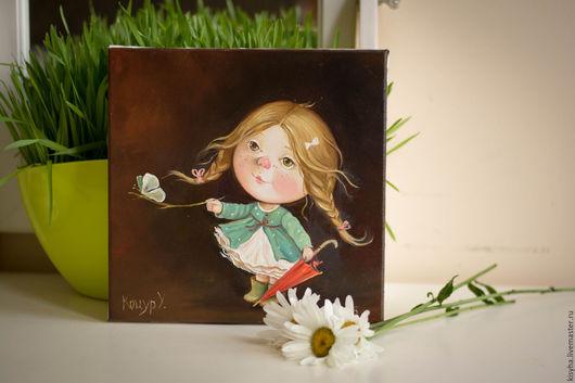Люди, ручной работы. Ярмарка Мастеров - ручная работа. Купить Картина Бабочка после дождика.... Handmade. Комбинированный, зонтик, холст