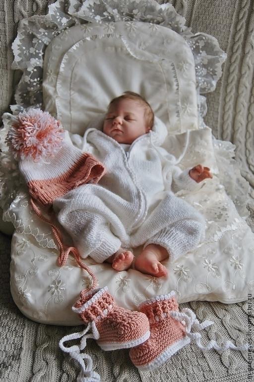 """Для новорожденных, ручной работы. Ярмарка Мастеров - ручная работа. Купить Комплект """"Воздушное тепло"""". Handmade. Белый, комбинезон"""