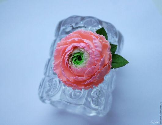 """Заколки ручной работы. Ярмарка Мастеров - ручная работа. Купить Зажим """"Ранункулюс"""". Handmade. Розовый, розовый ранункулюс, цветочный"""