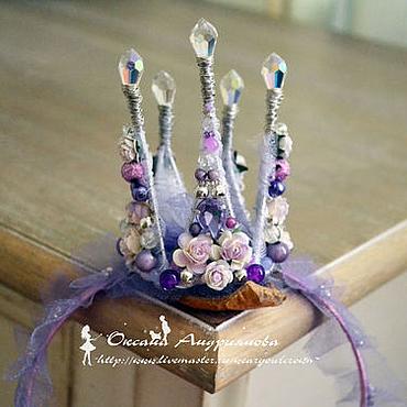 Украшения ручной работы. Ярмарка Мастеров - ручная работа Корона на ободке. Сиреневая, фиолетовая корона. Корона для принцессы. Handmade.