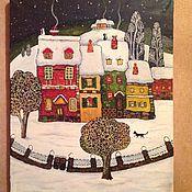 """Подарки к праздникам ручной работы. Ярмарка Мастеров - ручная работа Картина маслом """"Зимний вечер"""". Handmade."""