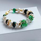 Украшения handmade. Livemaster - original item Bracelet made of pearls, chrysoprase, onyx, rock crystal. Handmade.
