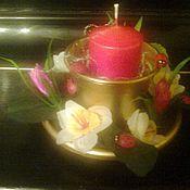 """Подарки к праздникам ручной работы. Ярмарка Мастеров - ручная работа декоративная свеча с цветочным оформлением""""веселая лужайка"""". Handmade."""