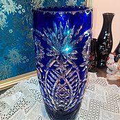 Винтажная ваза,цветной хрусталь.