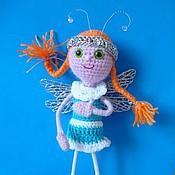 Куклы и игрушки ручной работы. Ярмарка Мастеров - ручная работа Девочка-Стрекоза вязаная кукла. Handmade.